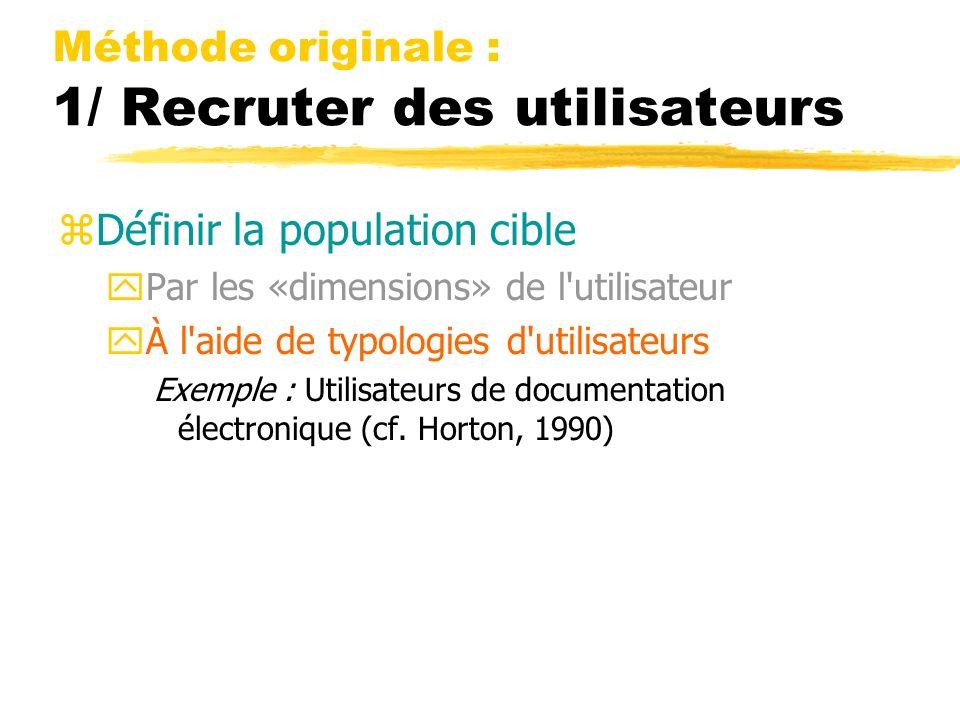 Méthode originale : 1/ Recruter des utilisateurs