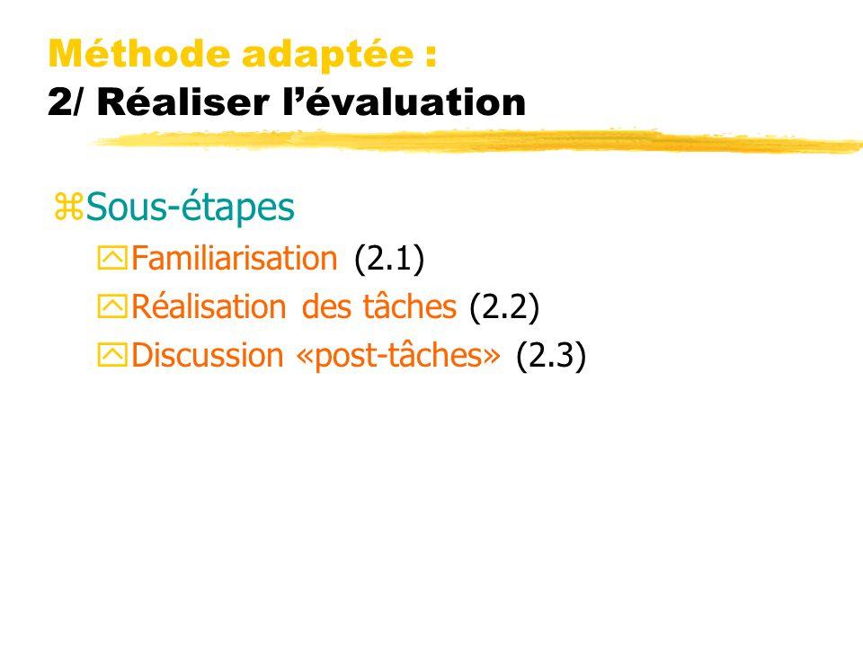 Méthode adaptée : 2/ Réaliser l'évaluation