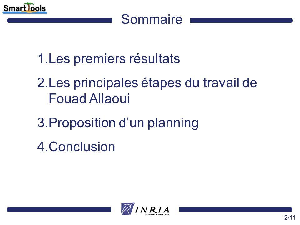 Sommaire Les premiers résultats. Les principales étapes du travail de Fouad Allaoui. Proposition d'un planning.