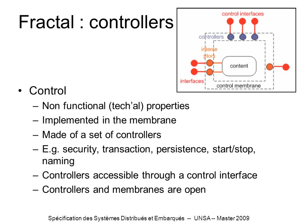 Fractal : controllers Control Non functional (tech'al) properties