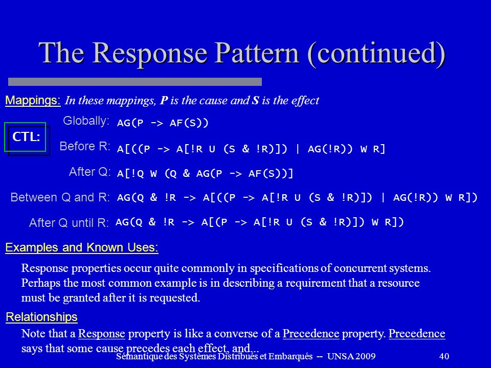 The Response Pattern (continued)