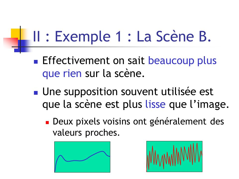 II : Exemple 1 : La Scène B. Effectivement on sait beaucoup plus que rien sur la scène.