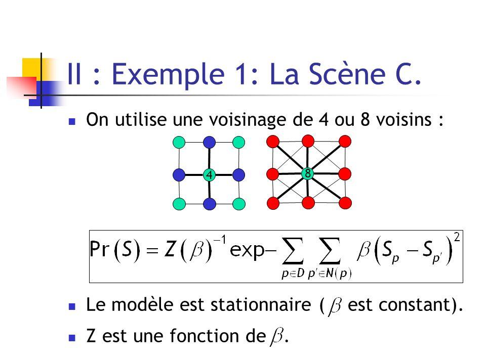II : Exemple 1: La Scène C. On utilise une voisinage de 4 ou 8 voisins : Le modèle est stationnaire ( est constant).