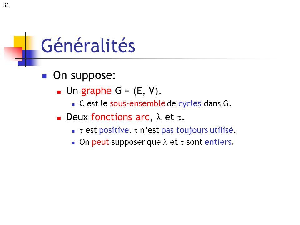 Généralités On suppose: Un graphe G = (E, V).