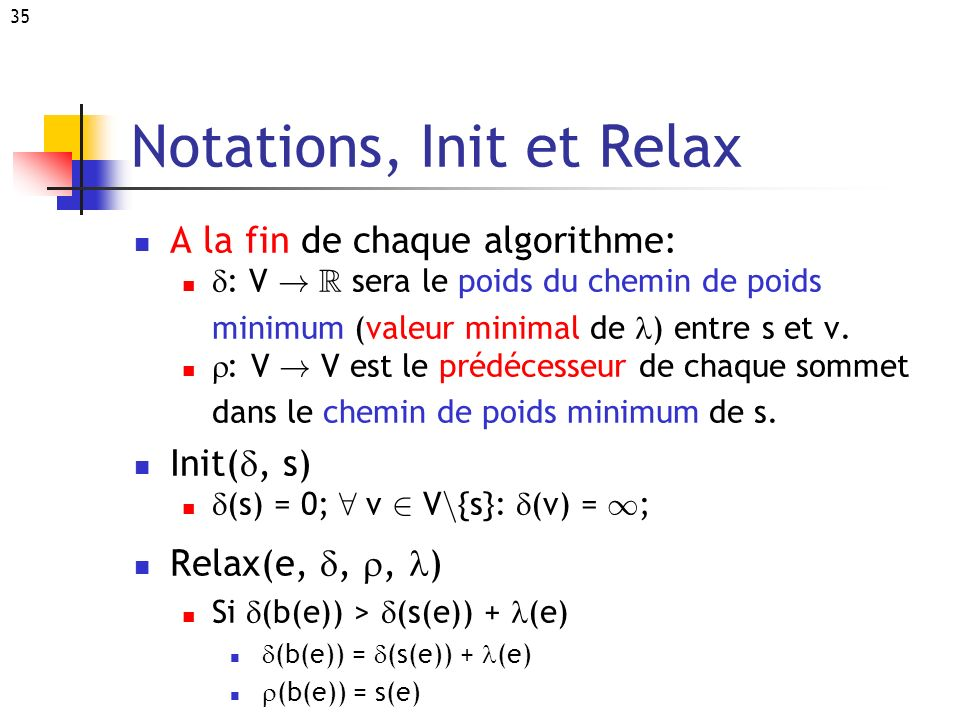 Notations, Init et Relax