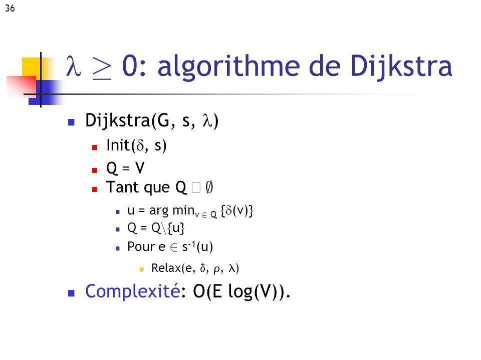 l ¸ 0: algorithme de Dijkstra