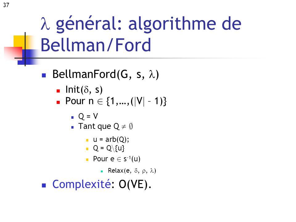 l général: algorithme de Bellman/Ford
