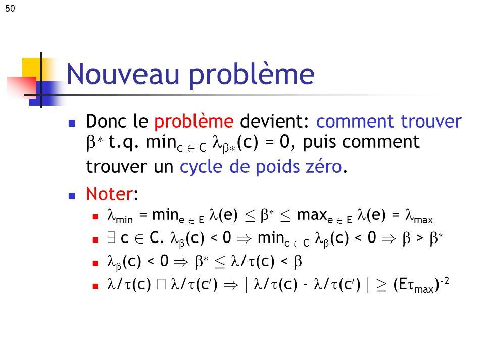 Nouveau problème Donc le problème devient: comment trouver b¤ t.q. minc 2 C lb¤(c) = 0, puis comment trouver un cycle de poids zéro.