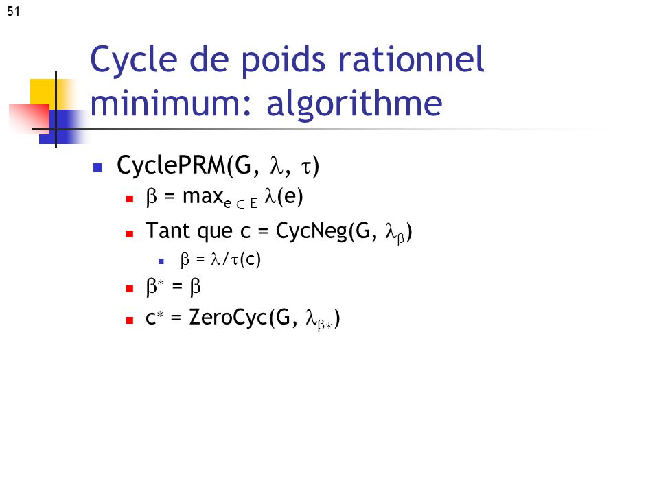 Cycle de poids rationnel minimum: algorithme