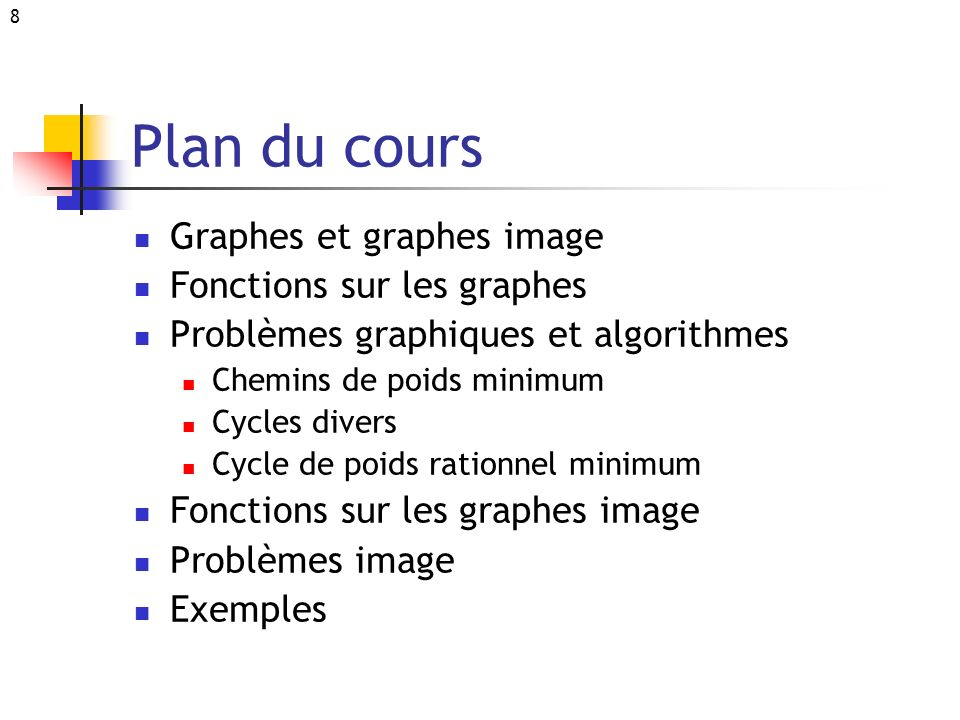 Plan du cours Graphes et graphes image Fonctions sur les graphes