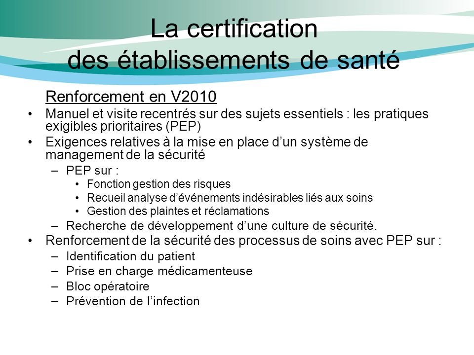 La certification des établissements de santé
