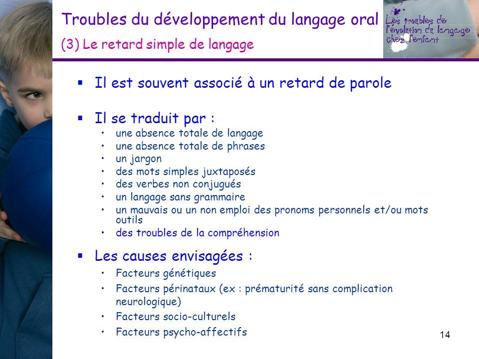 Troubles du développement du langage oral (3) Le retard simple de langage