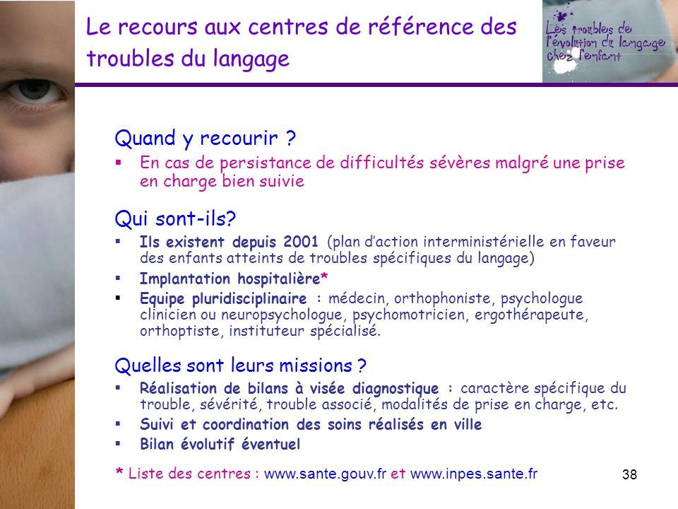 Le recours aux centres de référence des troubles du langage