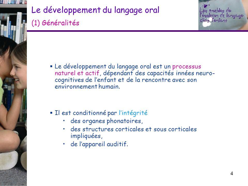 Le développement du langage oral (1) Généralités