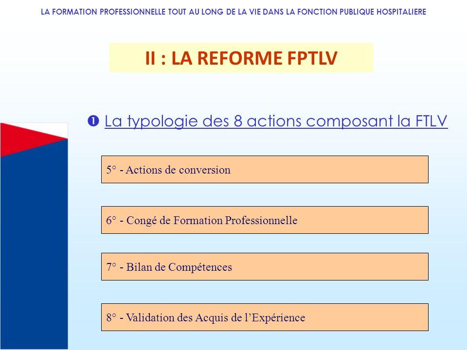 II : LA REFORME FPTLV  La typologie des 8 actions composant la FTLV