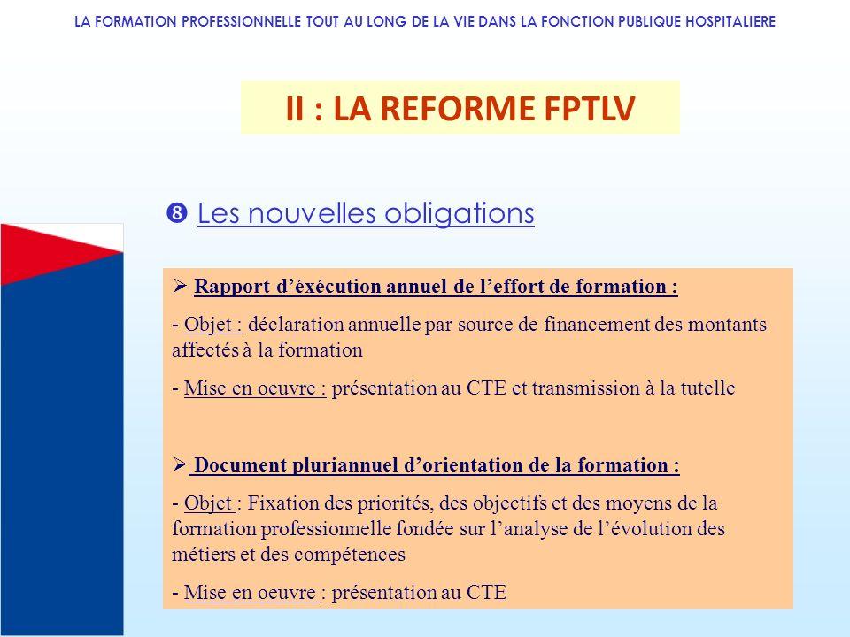 II : LA REFORME FPTLV  Les nouvelles obligations