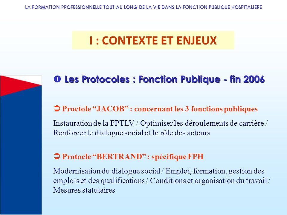 I : CONTEXTE ET ENJEUX  Les Protocoles : Fonction Publique - fin 2006