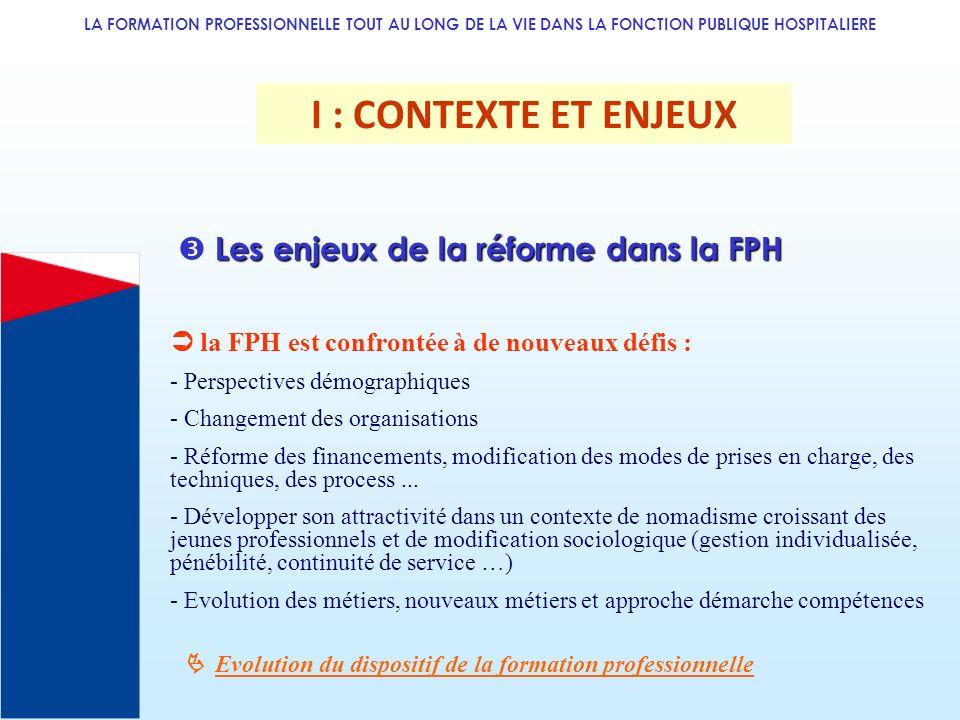 I : CONTEXTE ET ENJEUX  Les enjeux de la réforme dans la FPH