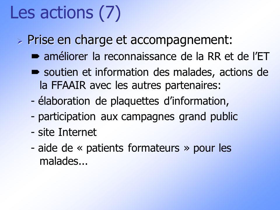Les actions (7) Prise en charge et accompagnement: