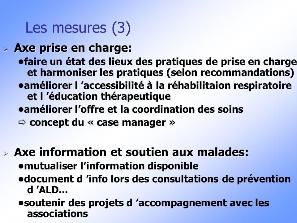 Les mesures (3) Axe prise en charge:
