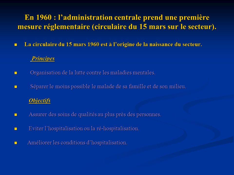 En 1960 : l'administration centrale prend une première mesure réglementaire (circulaire du 15 mars sur le secteur).