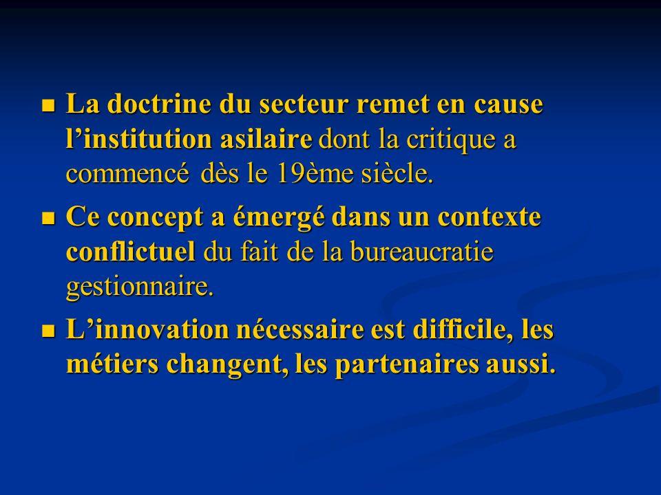 La doctrine du secteur remet en cause l'institution asilaire dont la critique a commencé dès le 19ème siècle.