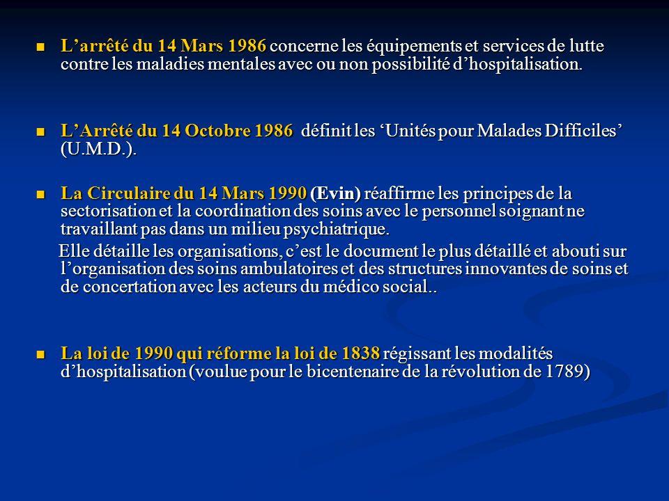 L'arrêté du 14 Mars 1986 concerne les équipements et services de lutte contre les maladies mentales avec ou non possibilité d'hospitalisation.