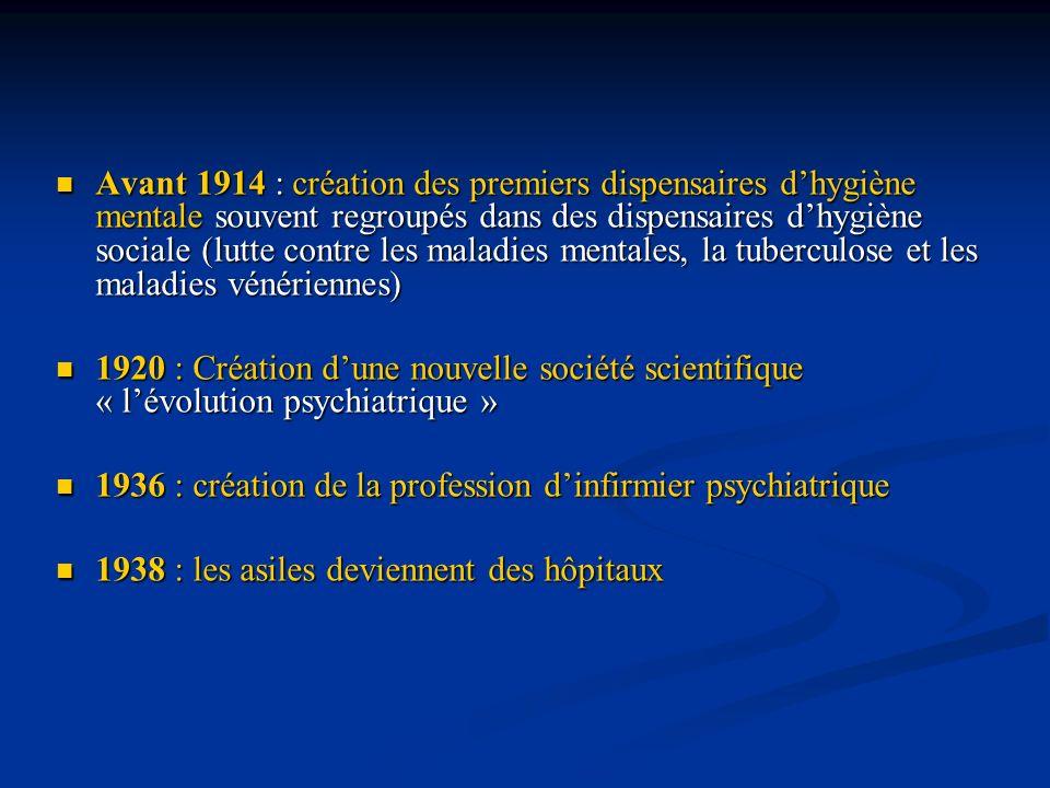 Avant 1914 : création des premiers dispensaires d'hygiène mentale souvent regroupés dans des dispensaires d'hygiène sociale (lutte contre les maladies mentales, la tuberculose et les maladies vénériennes)