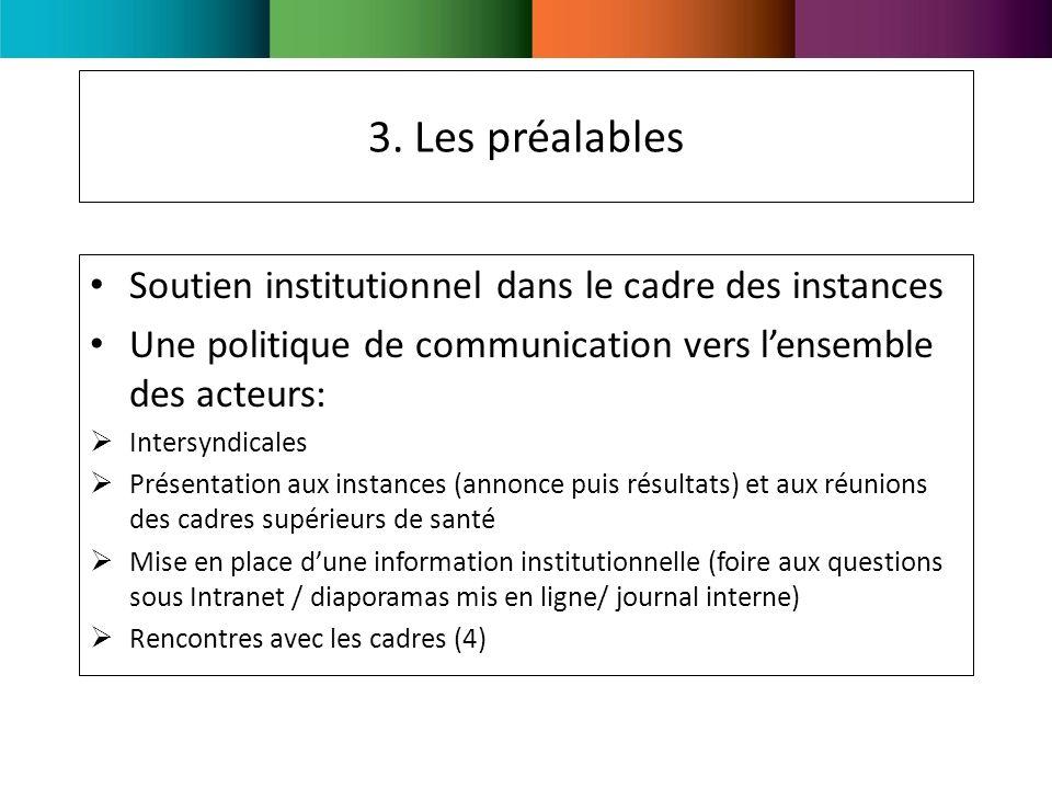 3. Les préalables Soutien institutionnel dans le cadre des instances