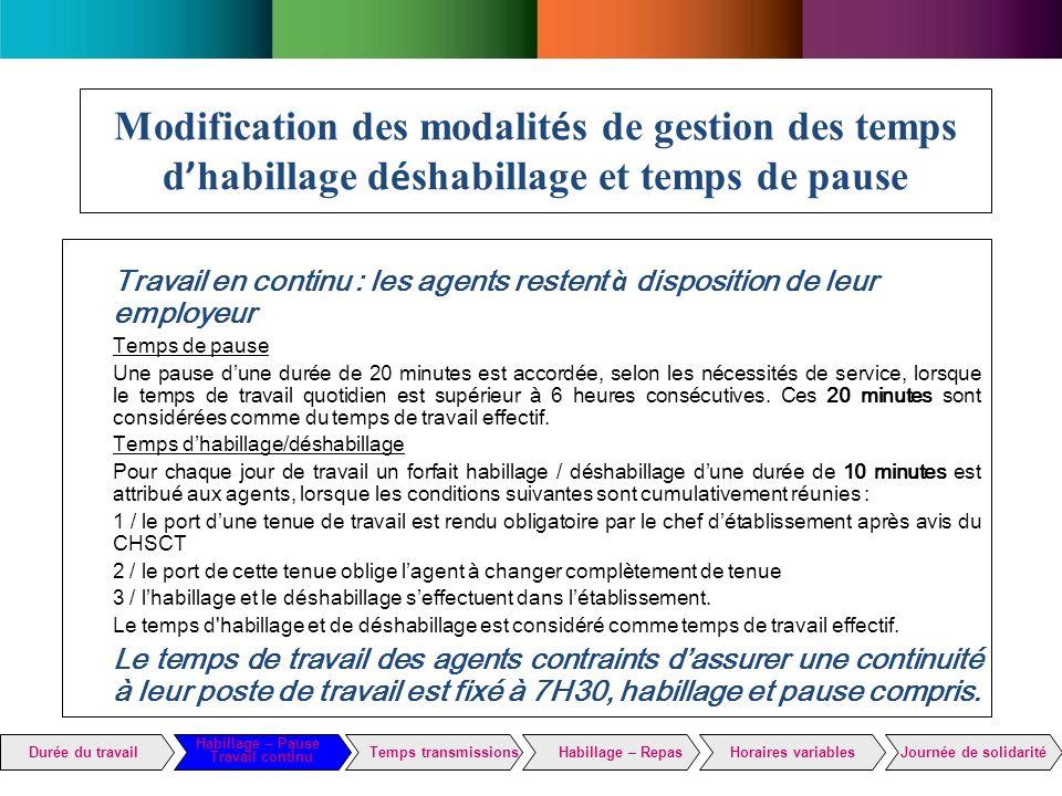 Modification des modalités de gestion des temps d'habillage déshabillage et temps de pause