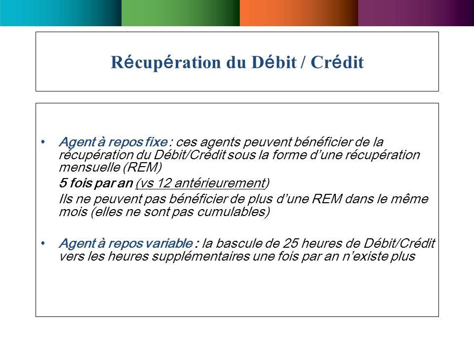 Récupération du Débit / Crédit