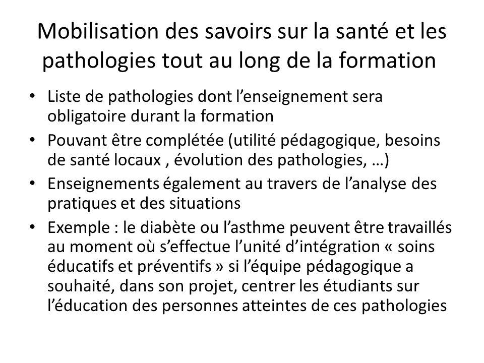 Mobilisation des savoirs sur la santé et les pathologies tout au long de la formation