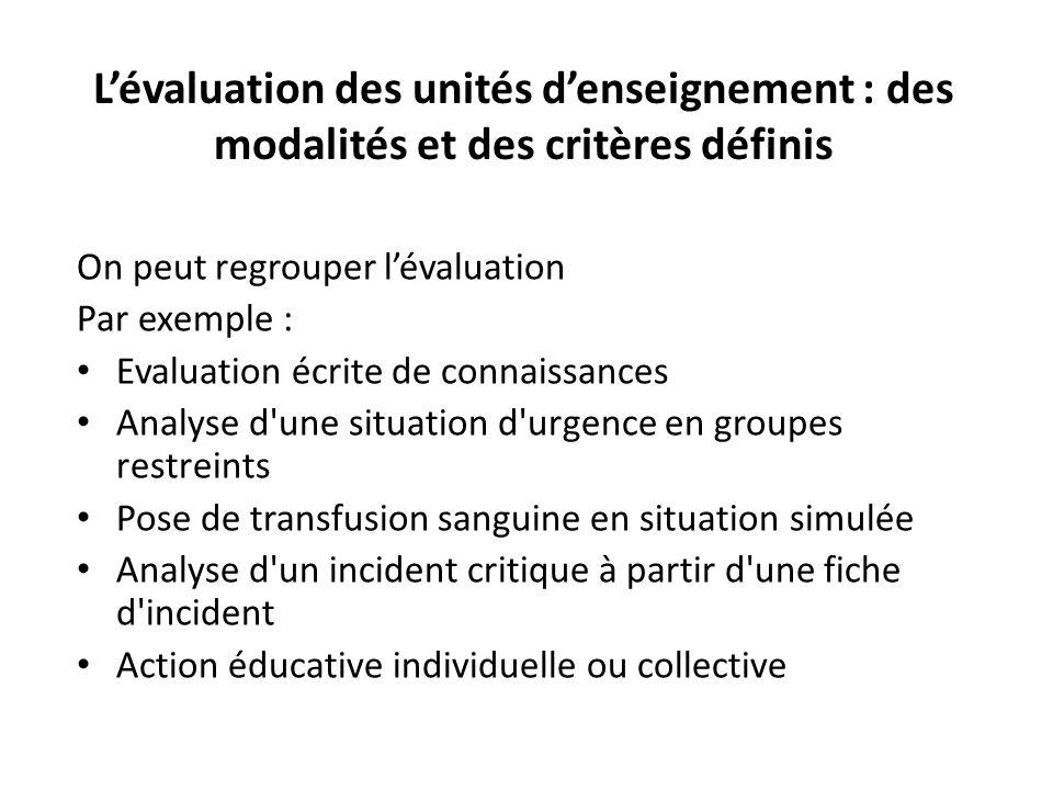 L'évaluation des unités d'enseignement : des modalités et des critères définis
