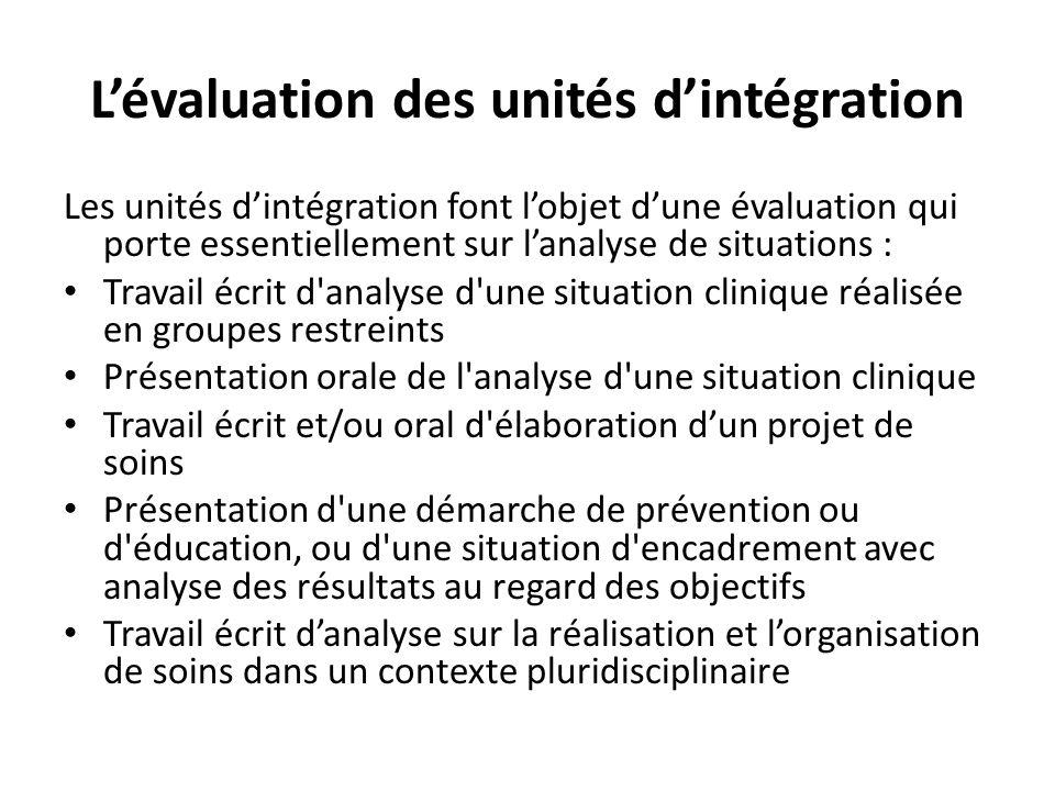 L'évaluation des unités d'intégration