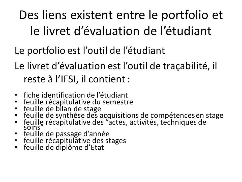 Des liens existent entre le portfolio et le livret d'évaluation de l'étudiant