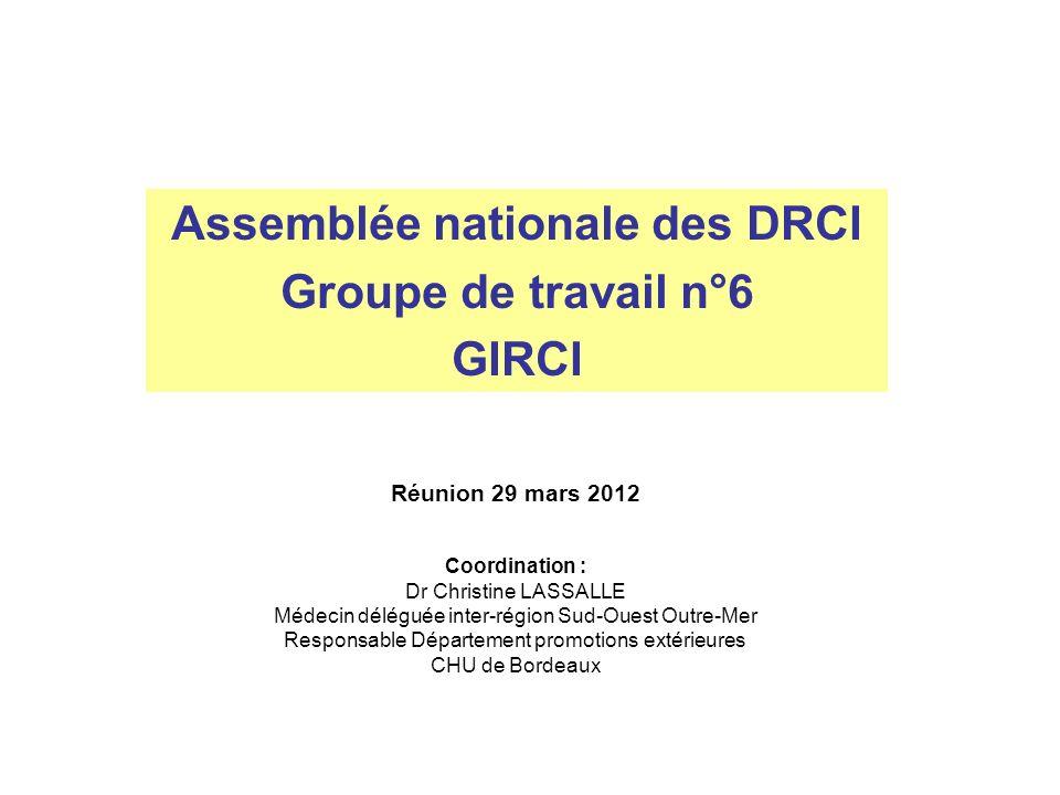 Assemblée nationale des DRCI Groupe de travail n°6 GIRCI