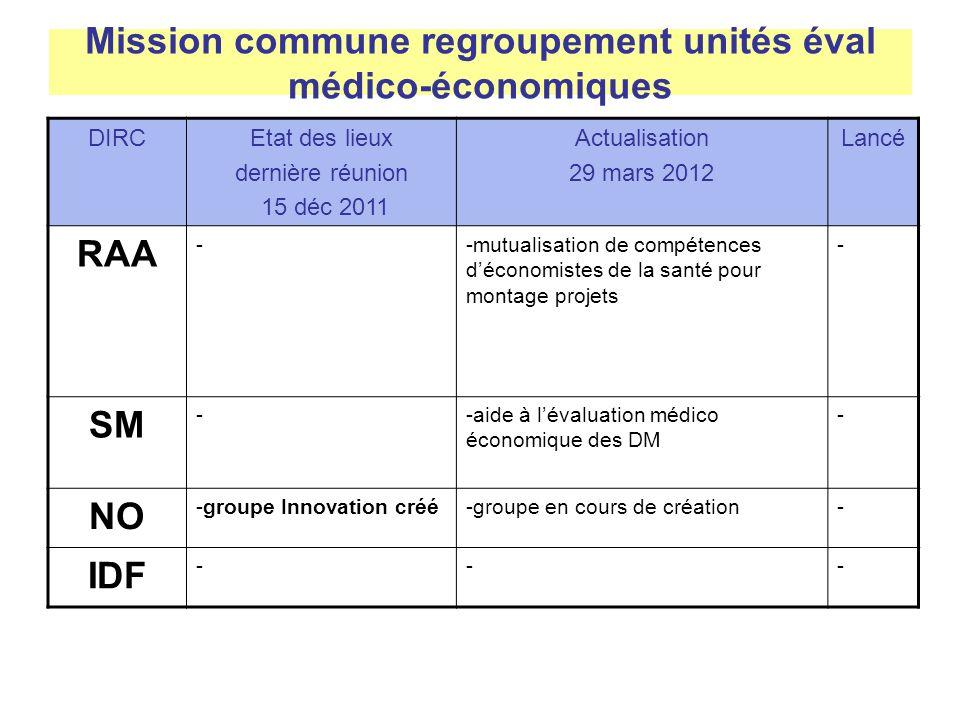 Mission commune regroupement unités éval médico-économiques