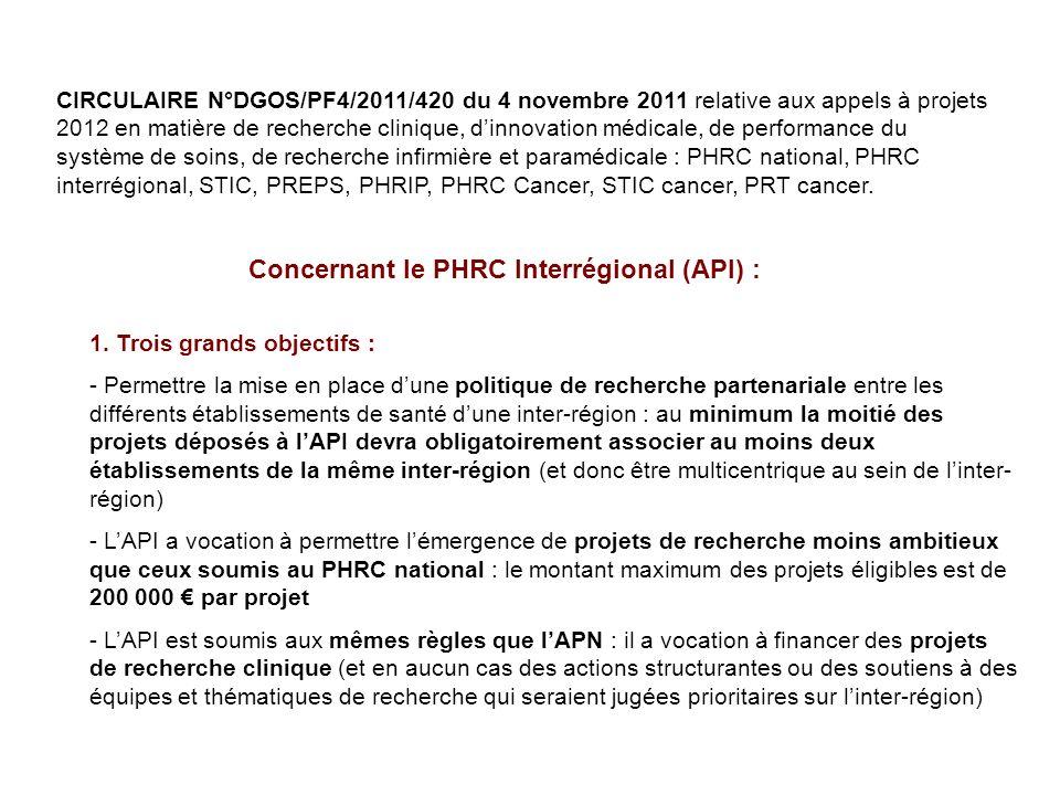 Concernant le PHRC Interrégional (API) :