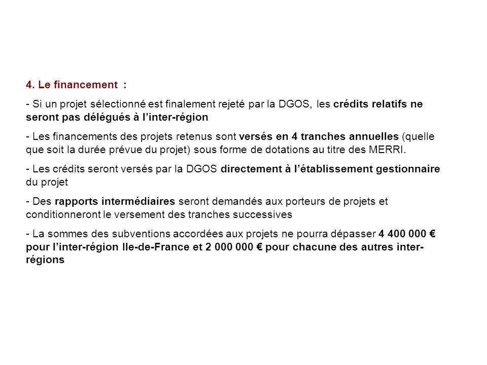 4. Le financement : Si un projet sélectionné est finalement rejeté par la DGOS, les crédits relatifs ne seront pas délégués à l'inter-région.