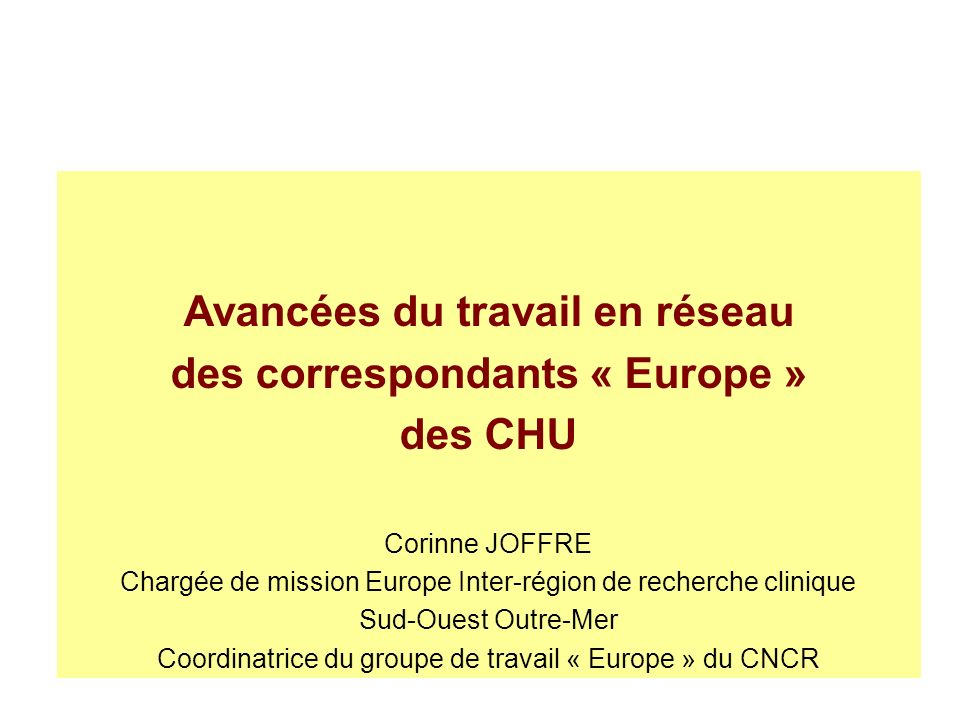 Avancées du travail en réseau des correspondants « Europe »