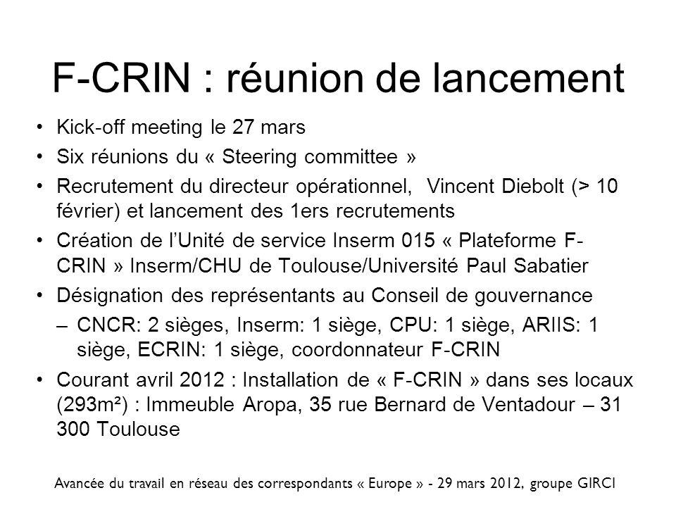 F-CRIN : réunion de lancement