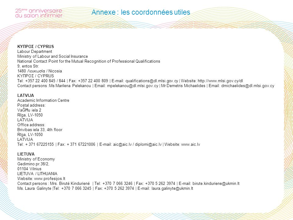Annexe : les coordonnées utiles