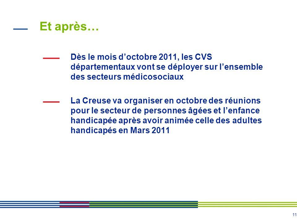 Et après… Dès le mois d'octobre 2011, les CVS départementaux vont se déployer sur l'ensemble des secteurs médicosociaux.
