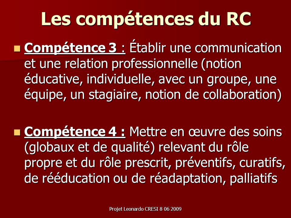 Les compétences du RC