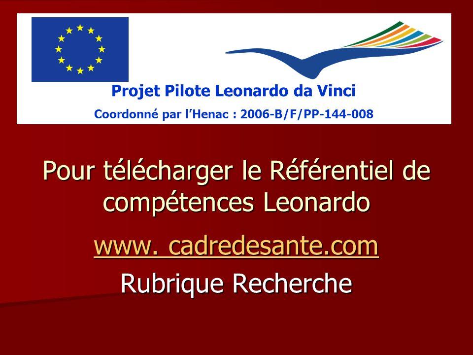 Pour télécharger le Référentiel de compétences Leonardo