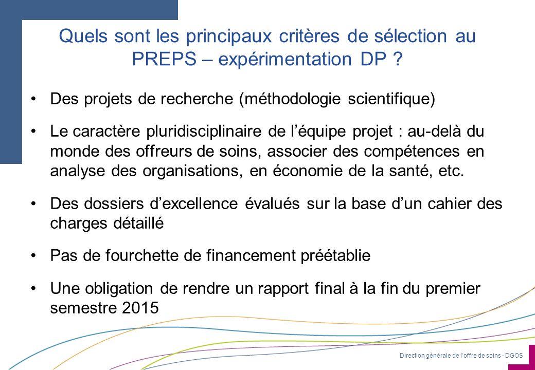 Quels sont les principaux critères de sélection au PREPS – expérimentation DP