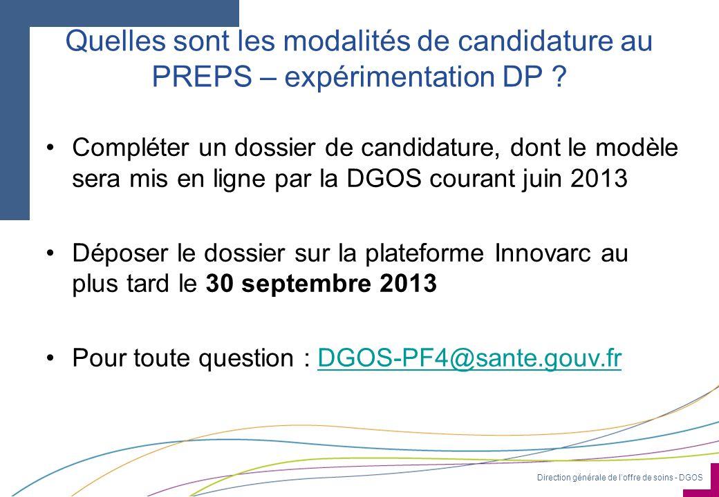 Quelles sont les modalités de candidature au PREPS – expérimentation DP