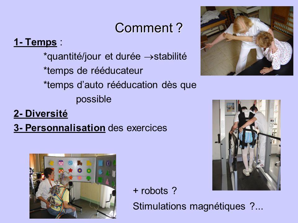 + robots Comment 1- Temps : *quantité/jour et durée stabilité