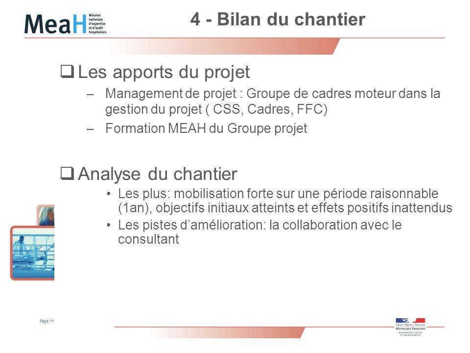 4 - Bilan du chantier Les apports du projet Analyse du chantier