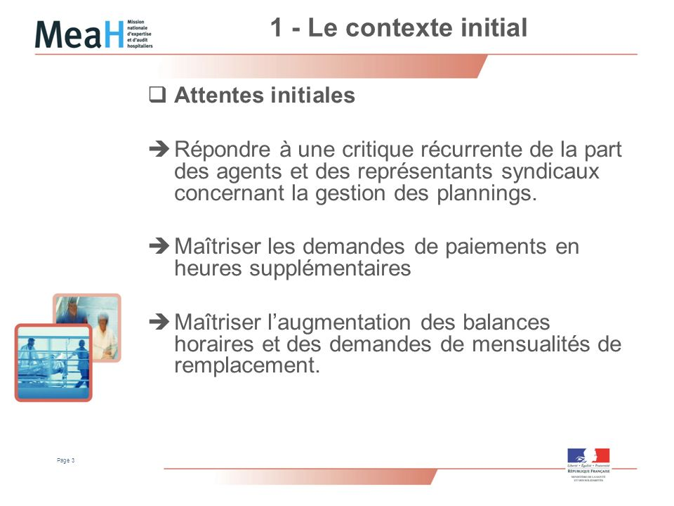 1 - Le contexte initial Attentes initiales